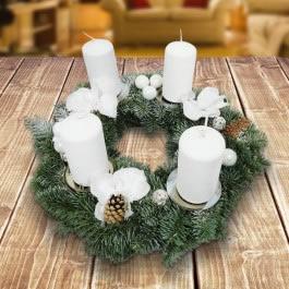Adventskranz - Adventskranz weiß